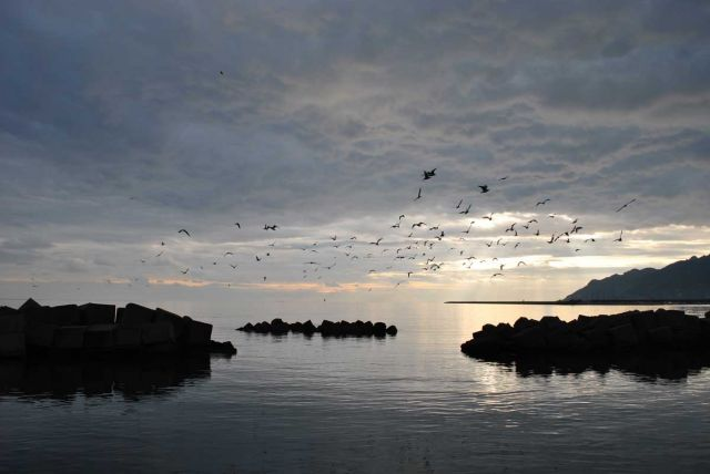 Fantástico atardecer en Salerno (Italia)