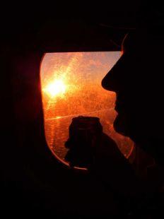 Puesta de sol desde el avión