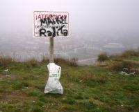 Señal de peligro en Monte Cantabria